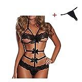 Culater® New hot sexy della biancheria intima delle donne sexy delle signore della biancheria vestito di vestito congiunti trasparente erotico costumi vestiti per il sesso (Nero, M)