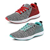 Tempo Men's Classic Red & Green Synthetic Combo Sports Shoes - 8 - Pack of 2