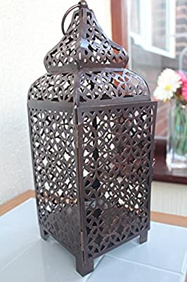 Vintage Copper Moroccan Lantern Metal Electrical Table Lamp Bed Side New