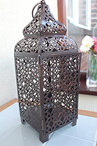 VINTAGE COPPER MOROCCAN LANTERN METAL ELECTRICAL TABLE LAMP BED SIDE