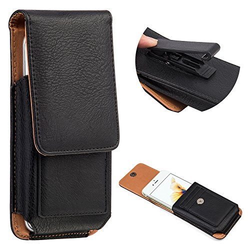 iPhone 7 Plus Holster, INNEXT Vertical Leather Holster Swivel Belt Clip Pouch Carrying Case with Card Slots for iPhone 6 Plus/ Galaxy Note 5/S6 Edge/ LG /G4/G3 (5.5 inch, Black) (Gürtel-clip Holster Iphone 6)