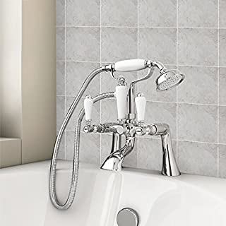Warmiehomy Bath Filler Mixer Tap Vintage Traditional Bathroom Shower Taps - Chrome