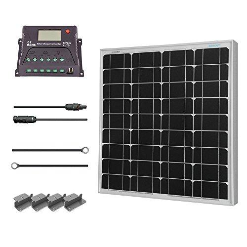 Renogy 50 W Solarmodul Mono 12 V, Solarpanel, Solarzelle, Solaranlage Solarbausatz für Aufladen von 12V Solarbatterie RV Garten Boot