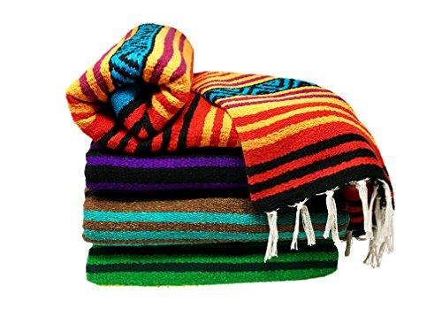 Spirit Quest Supplies Bodhi Decke Mexiko Stil Decke-Falsa Überwurf Decke für Yoga, Picknicks, Strand, Wandteppich, Camping, Mehr, Spirit Voices: Orange, Red, Purple, Black, Blue, 56