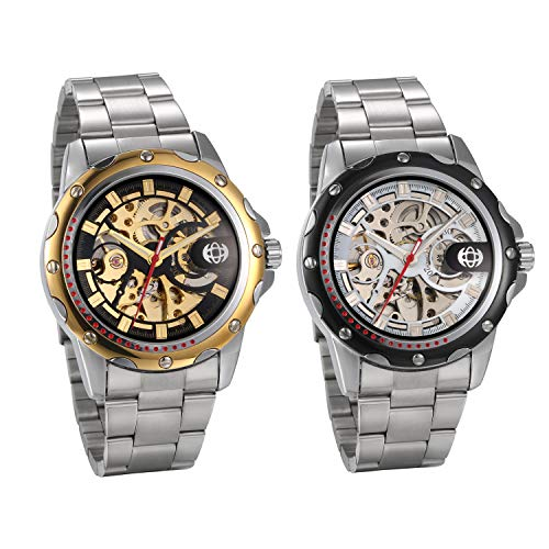 JewelryWe 2pcs Herrenuhr Analog Automatik Uhr Klassische Automatische Mechanische Skelett Armbanduhr Automatikuhr mit Edelstahl Armband, Gold/Silber