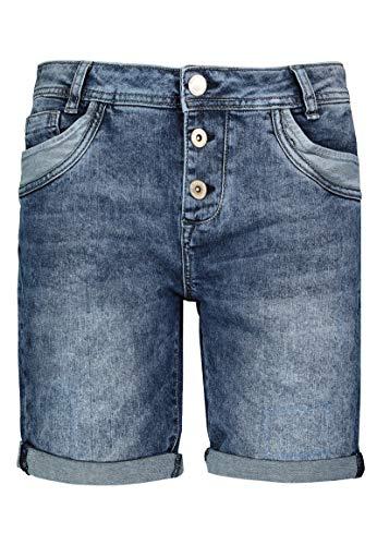 Sublevel Damen Shorts | Blaue Jeans Bermuda mit Destroyed Parts im Boyfriend-Style Middle-Blue M
