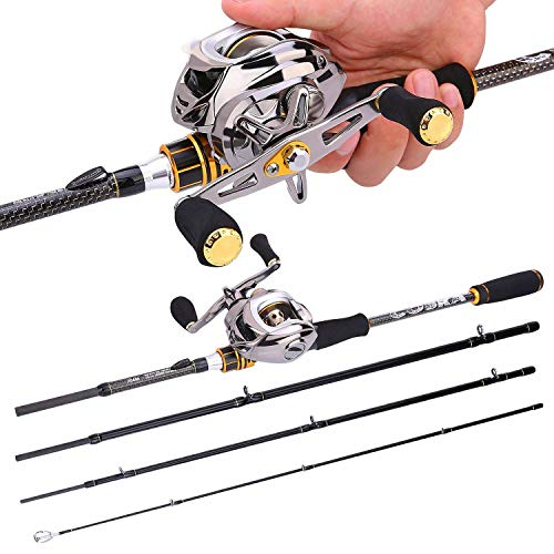 FISHYY Angelrute Baitcast Rod Reel Combo Portable 4 Abschnitt M Power Casting Angelrute mit 11+1BB Angelrolle Kit
