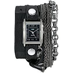La Mer Collections Damen LMMULTI7000 Carerra Multi-Chain Gunmetal Square Case Black Dial Ion-Plated Gunmetal Plated Jewelry Chains Armbanduhr