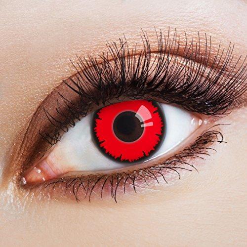 Bilder Kostüm Scary - aricona Kontaktlinsen Farblinsen - deckend rot - farbige Kontaktlinsen mit schwarzem Rand - bunte, farbig intensive Vampir Kostüm Linsen, rote Jahreslinsen für Halloween & Cosplay