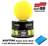 Soft99 Fusso Coat 12 Monate Dark Hartwachs Autowachs Autowax Lackversiegelung für Dunkle Lacke inkl. Pad + Monster Microfasertuch