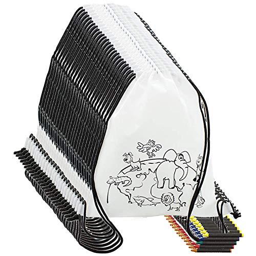 Partituki Mitgebsel Kindergeburtstag 10 Taschen Zu Malen, 10 Sets mit 5 Farbigen Wachsen. Für Kindergeburtstag Gastgeschenke und Kleine Geschenke für Kinder
