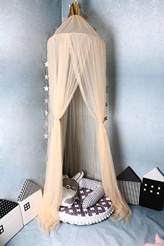 Ommda zanzariera lettino neonato con supporto maglia zanzariera lettino bimbi con apertura pieghevole neonato per lettino bambini mit ornamenti stella beige 240x60cm (höhexdurchmesser)