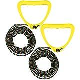 com-four® 2X Schlittenleine aus strapazierfähigem Seil mit gelben