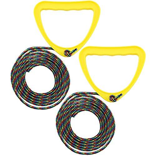 com-four® 2X Schlittenleine mit Griff, Rodel-zubehör Zugseil für Schlitten, Dreirad oder andere Kinderfahrzeuge (Schlittenleine - 02 Stück gelb)