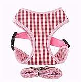 Fully Verstellbar Geschirr Brustgeschirr Netz Katzengeschirr mit Leine für Kaninchen Hase Kleine Haustiere (Größe S: Brust: 30-35cm/11.81-13.77