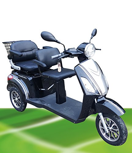 1000W ElektroMobil ZWEISITZER Modell David 2 bis 10 15 25km h ElektroScooter Senioren Mobility Vehicle Dreirad ElektroRoller Sonder Modell 2018 (Braun)*
