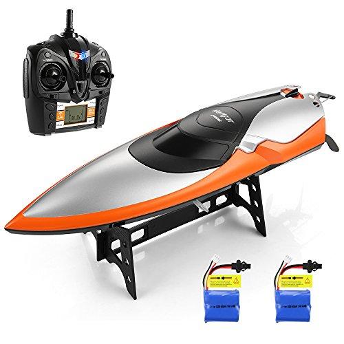 HELIFAR Ferngesteuertes Schwimmbad und Seen, 2,4 GHz, Geschwindigkeit, 20 MPH, 180 Grad drehbar, RC Rennboot für Erwachsene und Kinder, mit 2 Batterien