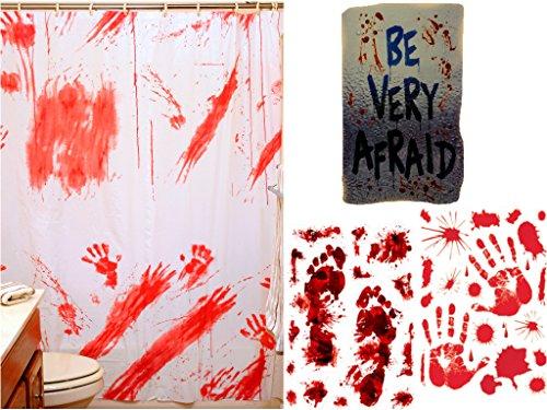 DVChil Halloween-Badezimmer-Dekorationsset - blutiger Duschvorhang; Skelett-WC-Deckelbezug, blutige Handabdrücke und blutige Fußabdrücke Blood & Clings