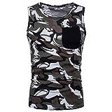 Herren Tank Tops,Dasongff Tanktops Männer Camouflage Weste Print T-Shirt Tops O-Ausschnitt Ärmellos Schlank Sportshirts Pullover Tank Top Bluse (M, Grau)