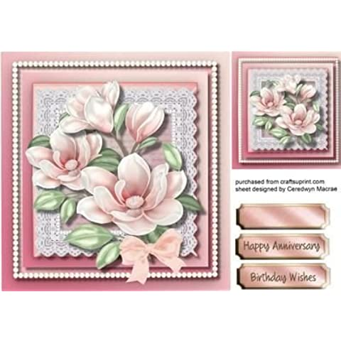 De color rosa diseño de Magnolias de encaje con perlas, by Ceredwyn Macrae