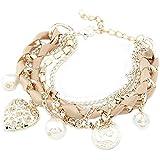 Stilvolle Damen Schmuck Legierung Metal Heart Perlen Armband