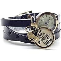 montre en cuir bracelet 3 rangs cabochon bronze illustré vintage, oiseaux, cage