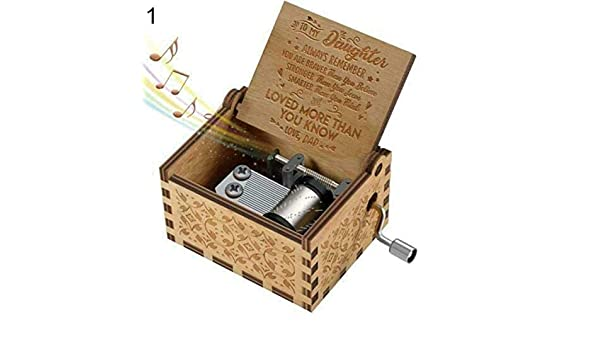 Ogquaton Hand Crank Wooden Engraved Music Box Mom//Dad to Daughter Ornament Kids Toy Gift Dad to Daughter New Released
