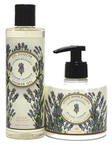 Panier des Sens Pflegeset Lavendel: Duschgel 250ml & Hand-/Bodylotion 300ml, mit echtem Lavendelöl, 2-teilig