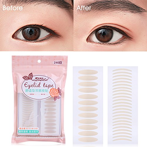 Lameila 240 Pairs Invisible Fiber Lace Double Eyelid Tape Self-Adhesive Double Eyelid Stickers - Natural Complexion (Silm + Wide) Test