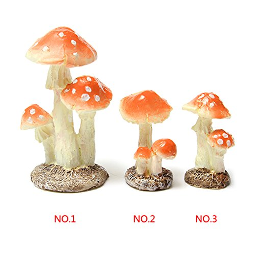 Topker 3pcs champignon champignon Miniature jardin Figurine Decor Longueur 3 * Largeur 2.6 * Hauteur 5cm