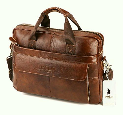 VIDENG POLO Aktentasche aus Leder,14 Zoll Herren Laptoptasche Schulter Geschäft Arbeitstaschen (Red-Brown) (Brown-leder-handtasche Tasche Geldbörse -)