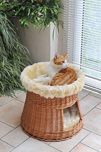 animal-design: Katzen-Haus Katzen-Höhle Katzen-Turm Katzen-Bett Katzen-Korb weiche Plüsch-Einlage waschbar Ø ca. 50 cm, Höhe: ca. 50 cm - Höhle Katze Bett