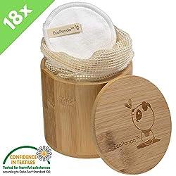 Waschbare umweltfreundliche Bambus & Baumwolle Abschminkpads von EcoPanda| 18 Kosmetik-Pads wiederverwendbar und nachhaltig| ink Bambuskörbchen und Wäschesack