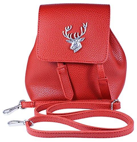 Trachten Umhängetasche in Rucksackform mit Hirschapplikation - Süße Damen Handtasche zum Dirndl Rot