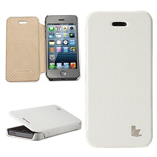 Jisoncase KLASSISCH Handytasche Book Type Apple iPhone 5/ iPhone 5S/ iPhone SE Hülle Case mit versteckter Magnetverschluss Tasche Leder Handyhülle in weiß JS-IP5-03H00 weiß