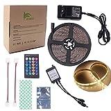 BIHRTC IP65 Wasserfest 5630 SMD 5M/16.4ft Warmweiß 3000-3500K 300 LED Streifen Stripe Licht Lichtband Lichtstreifen Set Kit mit Fernbedienung 24 Tasten und 12V 3A CE-Zertifizierung Netzteil
