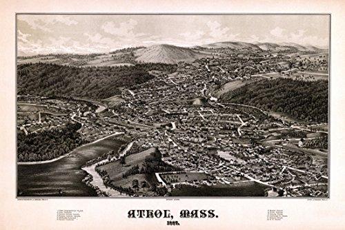 Antique Map of Athol Massachusetts 1887 Worcester County Kunstdruck (60,96 x 91,44 cm) - 1887 Antique Map