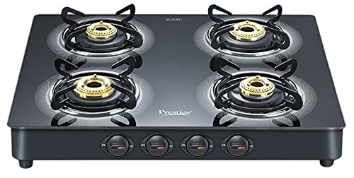 Prestige Royale Plus Schott Glass 4 Burner Gas Stove, Black