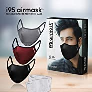 i95 airmask Premium Cotton Cloth Face Mask | Multi | Two 5 layer Replaceable Activated Carbon Filter | Reusabl