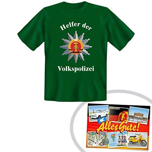 Tshirt Helfer der Volkspolizei grün | GRATIS DDR Geschenkkarte | Ossi Produkte | Geschenkidee für alle Ostalgiker aus Ostdeutschland | DDR Geschenke