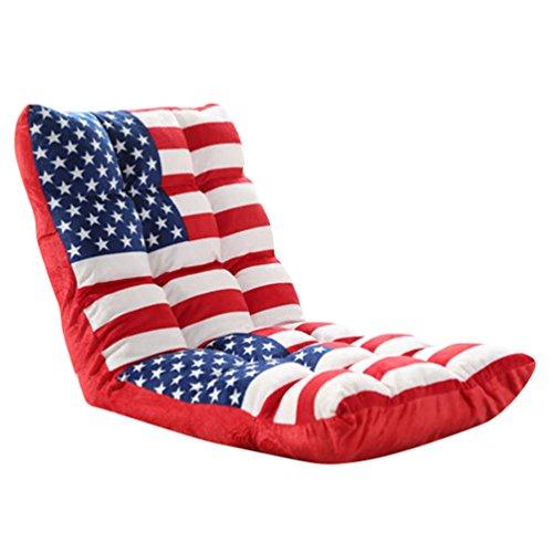 YouPue Falten Rückenlehne Klappstuhl Gepolsterter Bodenstuhl mit Verstellbarer Tatami Meditation Rückenlehne Stuhl Für Zuhause Oder Das Büro Flagge Drucken
