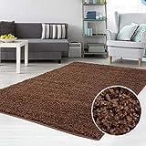 carpet city Teppich Shaggy Hochflor Langflor Flokati Einfarbig/Uni aus Polypropylen in Braun für Wohn-Schlafzimmer, Größe: 140x200 cm