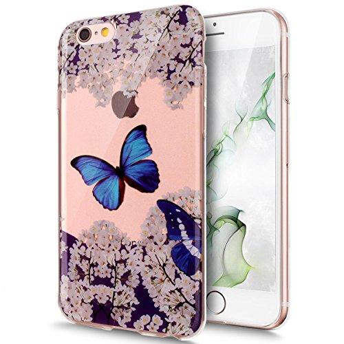 Coque iPhone 6, Étui iPhone 6S, iPhone 6/iPhone 6S Case, ikasus® Coque iPhone 6/iPhone 6S Étui Housse avec Mandala Fleur Papillon Hibou Couleur peinte Transparent TPU Silicone Étui Housse Téléphone Co Papillon bleu et fleur de cerisier
