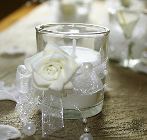 k7plus 4er teelicht mit kerze im glas mit schleifen perlen dekoband 4 x rose. Black Bedroom Furniture Sets. Home Design Ideas