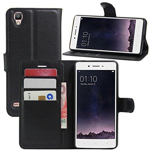 HualuBro Oppo F1 Hülle, [All Around Schutz] Premium PU Leder Leather Wallet HandyHülle Tasche Schutzhülle Flip Case Cover mit Karten Slot für Oppo F1 Smartphone (Schwarz)