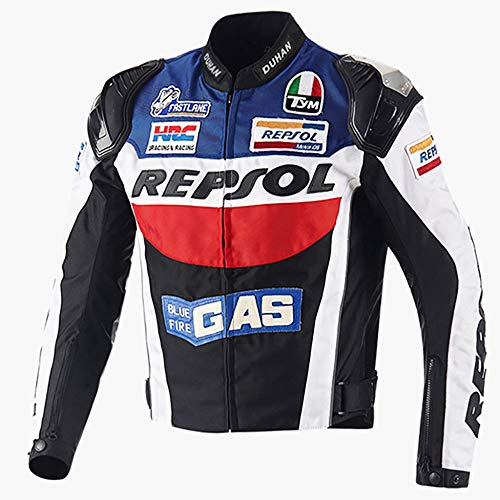Giacca da Moto Uomo Donna Abbigliamento da Corsa Impermeabile Marche Popolari Protezione CE Riflessivo Giacca da Motocross, Fodera Rimovibile Tuta da Ciclismo,Blue-XL