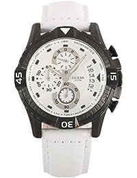 Guess ACTIVATOR W18547G2 - Reloj cronógrafo de cuarzo para hombre, correa de cuero color blanco (cronómetro)