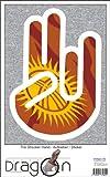The Shocker Hand Aufkleber Decal Sticker 15cm Autoaufkleber außenklebend weiß Umriss mit Fahne Kyrgyzstan-Kirgisistan