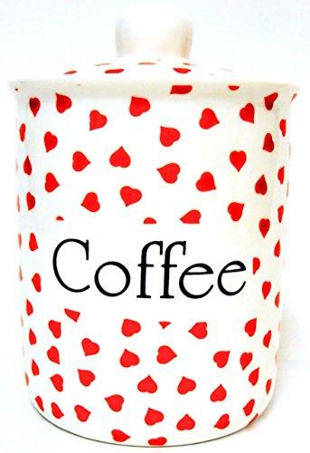 Love Hearts-Pot à café en porcelaine Fine Boîte à café et cœurs rouges décoré à la main au Royaume-Uni, livraison gratuite UK