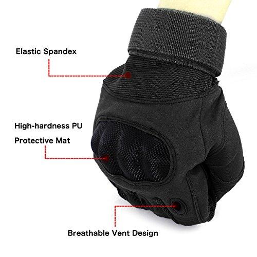 Unigear Taktische Handschuhe mit Klettverschluss Motorrad Handschuhe Army Gloves Sporthandschuhe geeignet für Motorräder Skifahren, Militär, Airsoft (Schwarz-Voll, XL) - 2